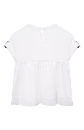 Детский хлопковый топ BRUNELLO CUCINELLI белого цвета, арт. B0A45T035A | Фото 2 (Материал внешний: Хлопок; Рукава: Короткие; Девочки Кросс-КТ: топ-одежда; Ростовка одежда: 4 года | 104 см, 6 лет | 116 см)