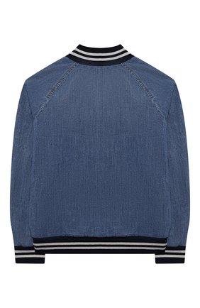 Детского джинсовый бомбер BRUNELLO CUCINELLI голубого цвета, арт. B0Z370923C   Фото 2