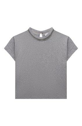 Детская хлопковая футболка BRUNELLO CUCINELLI светло-серого цвета, арт. B0A45T030A | Фото 1