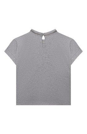 Детская хлопковая футболка BRUNELLO CUCINELLI светло-серого цвета, арт. B0A45T030B | Фото 2