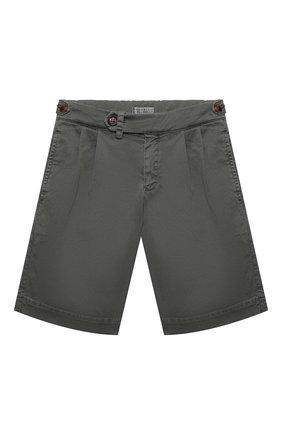 Детские хлопковые шорты BRUNELLO CUCINELLI серого цвета, арт. B289LP904A   Фото 1