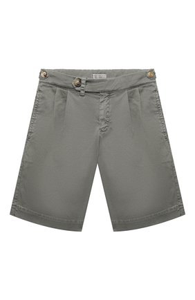 Детские хлопковые шорты BRUNELLO CUCINELLI серого цвета, арт. B289LP904B   Фото 1