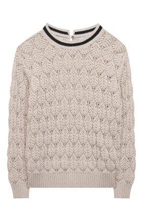 Детский хлопковый пуловер BRUNELLO CUCINELLI бежевого цвета, арт. B58M70200C | Фото 1
