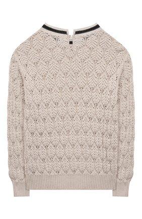 Детский хлопковый пуловер BRUNELLO CUCINELLI бежевого цвета, арт. B58M70200C | Фото 2