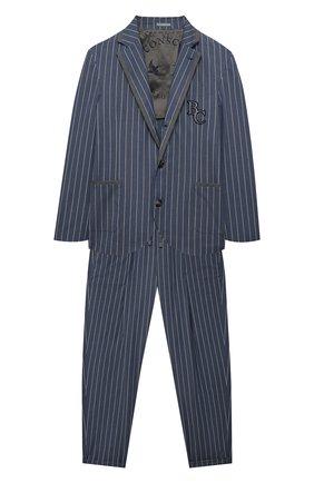 Детский хлопковый костюм BRUNELLO CUCINELLI голубого цвета, арт. BW414A110C | Фото 1 (Рукава: Длинные; Материал подклада: Купро; Кросс-КТ: костюм; Материал внешний: Хлопок; Ростовка одежда: 12 лет | 152 см, 13 - 15 лет | 158 см)
