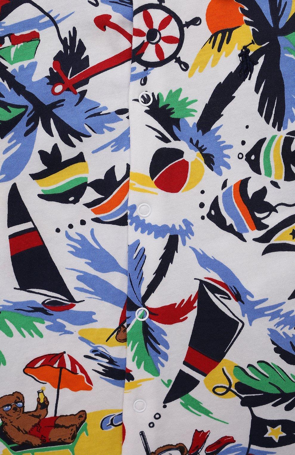 Детское хлопковый комбинезон POLO RALPH LAUREN разноцветного цвета, арт. 320837415 | Фото 3