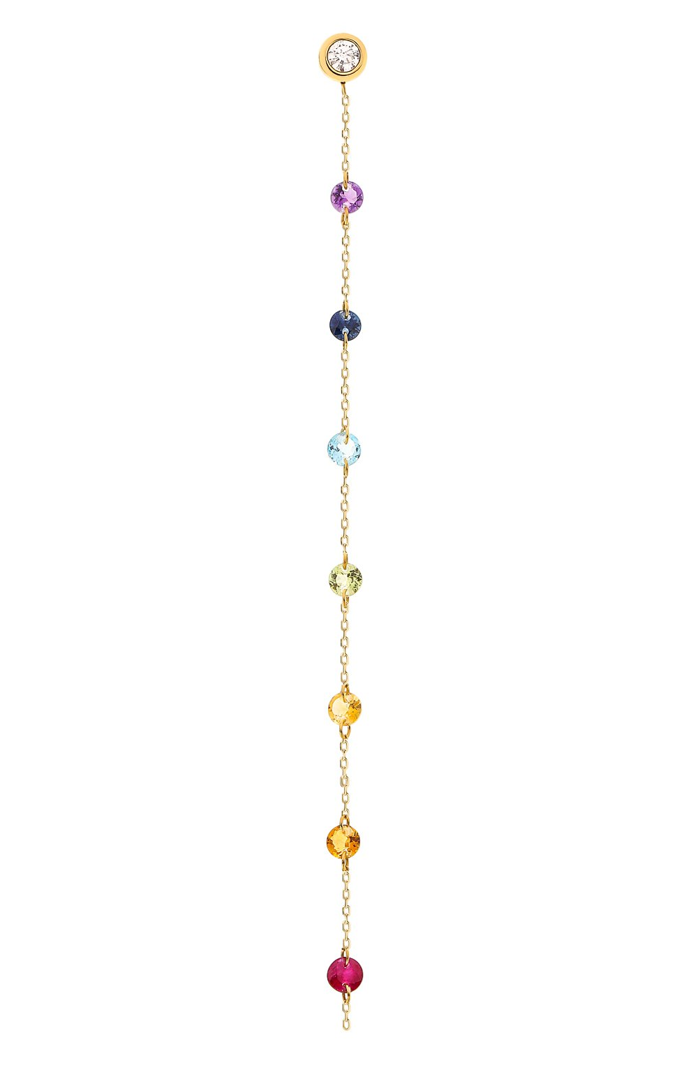 Женские серьга PERSEE PARIS бесцветного цвета, арт. EA73398-MU-YG | Фото 1 (Драгоценные камни: Рубины, Сапфиры, Другие; Материал сплава: Желтое золото)