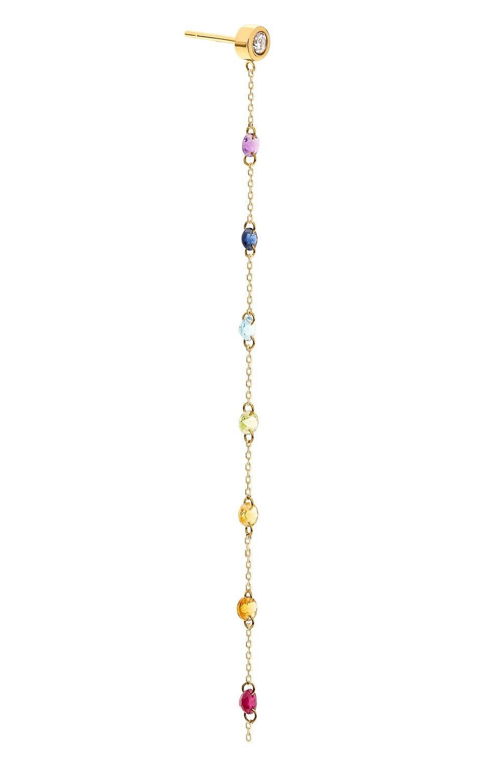 Женские серьга PERSEE PARIS бесцветного цвета, арт. EA73398-MU-YG | Фото 2 (Драгоценные камни: Рубины, Сапфиры, Другие; Материал сплава: Желтое золото)