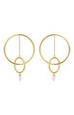 Женские серьги PERSEE PARIS бесцветного цвета, арт. E68976-YG | Фото 1 (Драгоценные камни: Бриллианты; Материал сплава: Желтое золото)