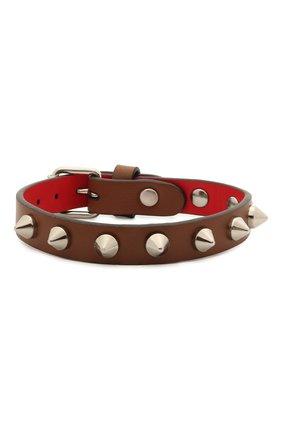 Женский кожаный браслет CHRISTIAN LOUBOUTIN коричневого цвета, арт. 1205100   Фото 1