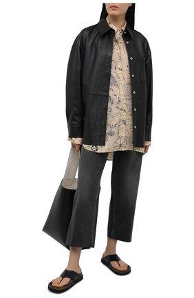 Женская льняная рубашка ACNE STUDIOS бежевого цвета, арт. AC0350   Фото 2