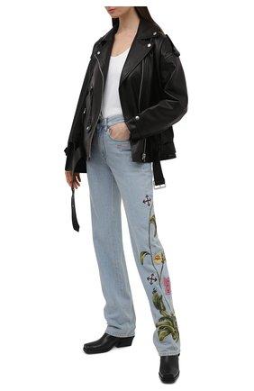 Женские джинсы OFF-WHITE голубого цвета, арт. 0WYA020S21DEN003 | Фото 2