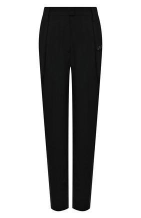 Женские брюки OFF-WHITE черного цвета, арт. 0WCA129S21FAB001 | Фото 1 (Женское Кросс-КТ: Брюки-одежда; Силуэт Ж (брюки и джинсы): Прямые; Материал внешний: Шерсть, Синтетический материал; Длина (брюки, джинсы): Стандартные; Стили: Спорт-шик)