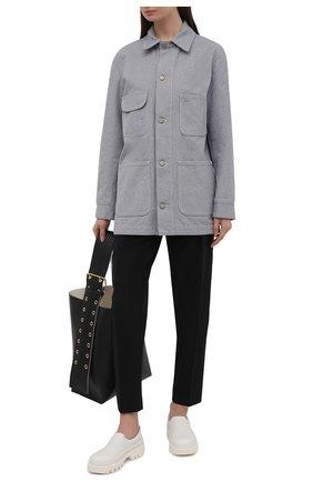 Женские брюки OFF-WHITE черного цвета, арт. 0WCA129S21FAB001 | Фото 2 (Женское Кросс-КТ: Брюки-одежда; Силуэт Ж (брюки и джинсы): Прямые; Материал внешний: Шерсть, Синтетический материал; Длина (брюки, джинсы): Стандартные; Стили: Спорт-шик)