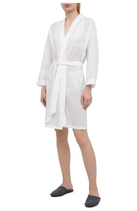 Женский хлопковый халат CELESTINE белого цвета, арт. 70000731/L0LITA R0BE | Фото 2