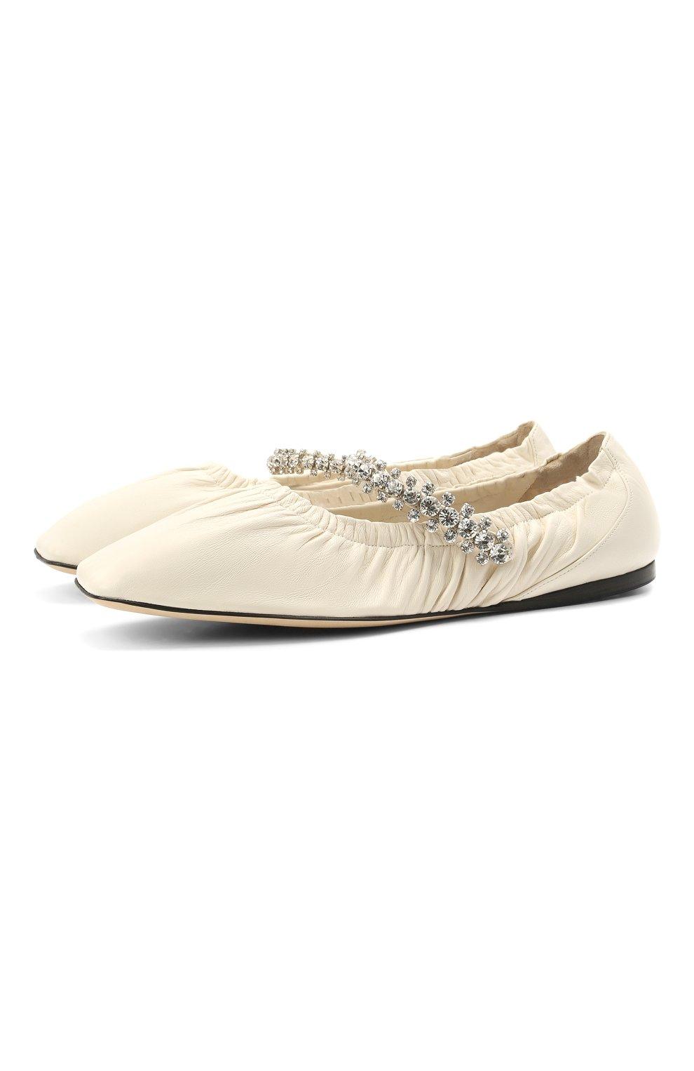 Женские кожаные балетки gai JIMMY CHOO кремвого цвета, арт. GAI FLAT/NAP   Фото 1