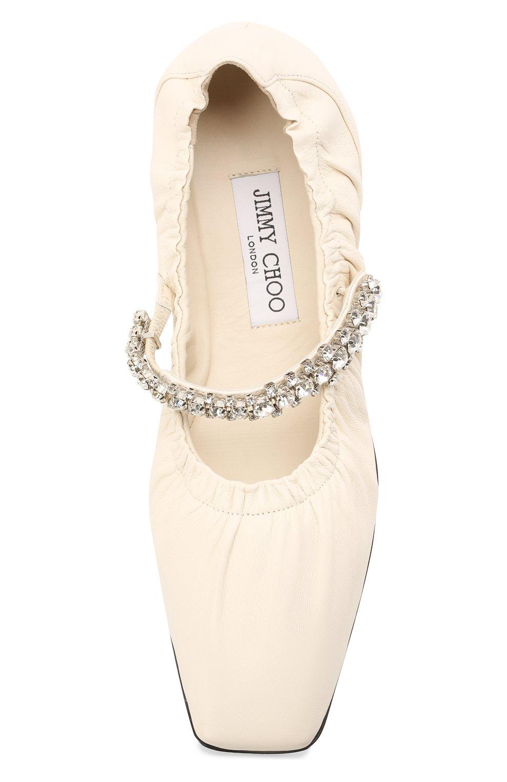 Женские кожаные балетки gai JIMMY CHOO кремвого цвета, арт. GAI FLAT/NAP   Фото 5