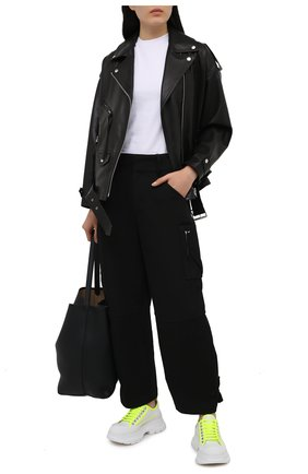 Женская текстильные ботинки ALEXANDER MCQUEEN белого цвета, арт. 657578/W4L3P | Фото 2 (Подошва: Платформа; Материал внешний: Текстиль; Материал внутренний: Натуральная кожа)