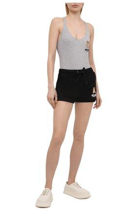 Женские хлопковые шорты MOSCHINO UNDERWEAR WOMAN черного цвета, арт. A4310/9020 | Фото 2