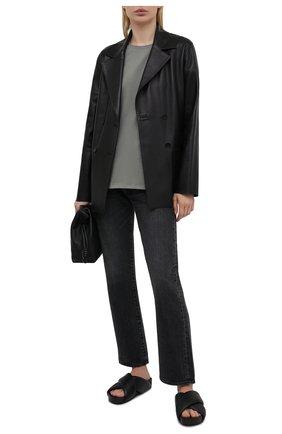 Женская хлопковая футболка BALMAIN серого цвета, арт. VF0EF010/B013   Фото 2 (Длина (для топов): Стандартные; Рукава: Короткие; Стили: Спорт-шик; Принт: С принтом; Женское Кросс-КТ: Футболка-одежда; Материал внешний: Хлопок)