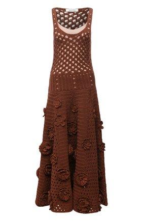 Женское хлопковое платье VALENTINO коричневого цвета, арт. VB0KD06H6CM | Фото 1