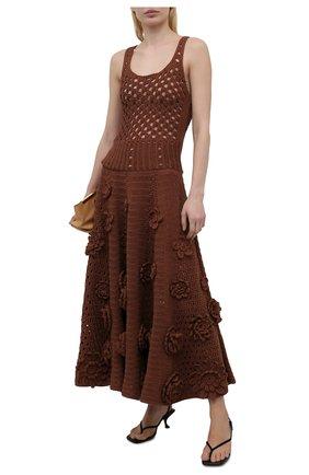 Женское хлопковое платье VALENTINO коричневого цвета, арт. VB0KD06H6CM | Фото 2