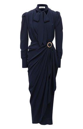 Женское шелковое платье LANVIN темно-синего цвета, арт. RW-DR0055-4868-E21 | Фото 1