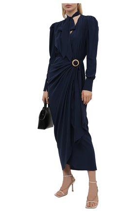 Женское шелковое платье LANVIN темно-синего цвета, арт. RW-DR0055-4868-E21 | Фото 2