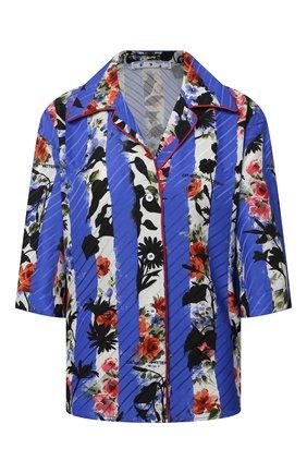 Женская рубашка из вискозы OFF-WHITE синего цвета, арт. 0WGA071S21FAB002 | Фото 1