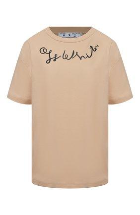 Женская хлопковая футболка OFF-WHITE бежевого цвета, арт. 0WAA089S21JER003 | Фото 1