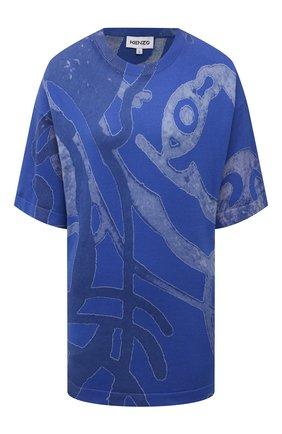 Женская хлопковая футболка KENZO синего цвета, арт. FB52PU5873TD | Фото 1