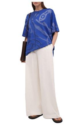 Женская хлопковая футболка KENZO синего цвета, арт. FB52PU5873TD | Фото 2