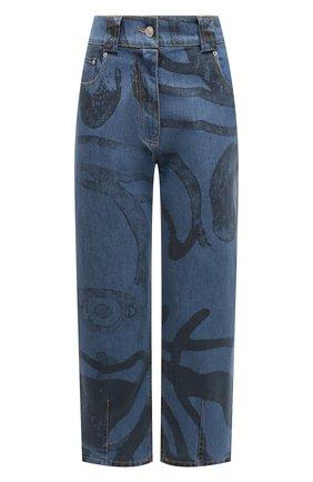 Женские джинсы KENZO синего цвета, арт. FB52DP2959H5   Фото 1 (Стили: Спорт-шик; Кросс-КТ: Деним; Материал внешний: Хлопок; Длина (брюки, джинсы): Стандартные; Силуэт Ж (брюки и джинсы): Прямые)
