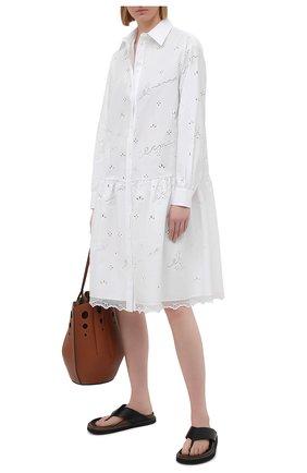 Женское хлопковое платье ERMANNO FIRENZE белого цвета, арт. D38ET AB56SAN | Фото 2
