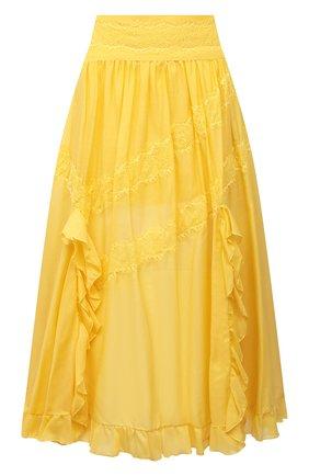 Женская юбка из хлопка и шелка ERMANNO FIRENZE желтого цвета, арт. D38ET GN16VSC | Фото 1
