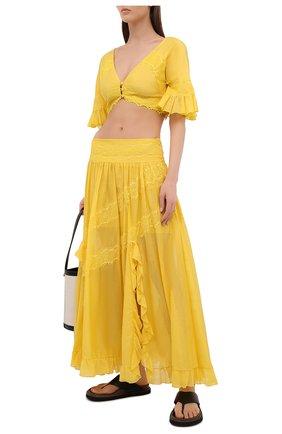 Женская юбка из хлопка и шелка ERMANNO FIRENZE желтого цвета, арт. D38ET GN16VSC | Фото 2