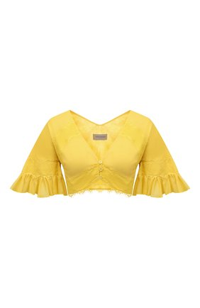 Женский топ из хлопка и шелка ERMANNO FIRENZE желтого цвета, арт. D38ET T013VSC | Фото 1