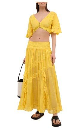 Женский топ из хлопка и шелка ERMANNO FIRENZE желтого цвета, арт. D38ET T013VSC | Фото 2