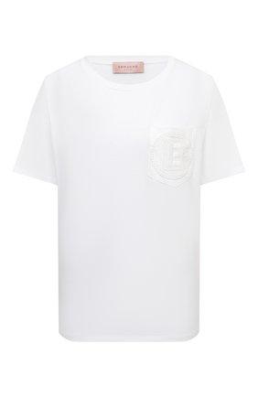 Женская хлопковая футболка ERMANNO FIRENZE белого цвета, арт. D38ET TS11JC0 | Фото 1
