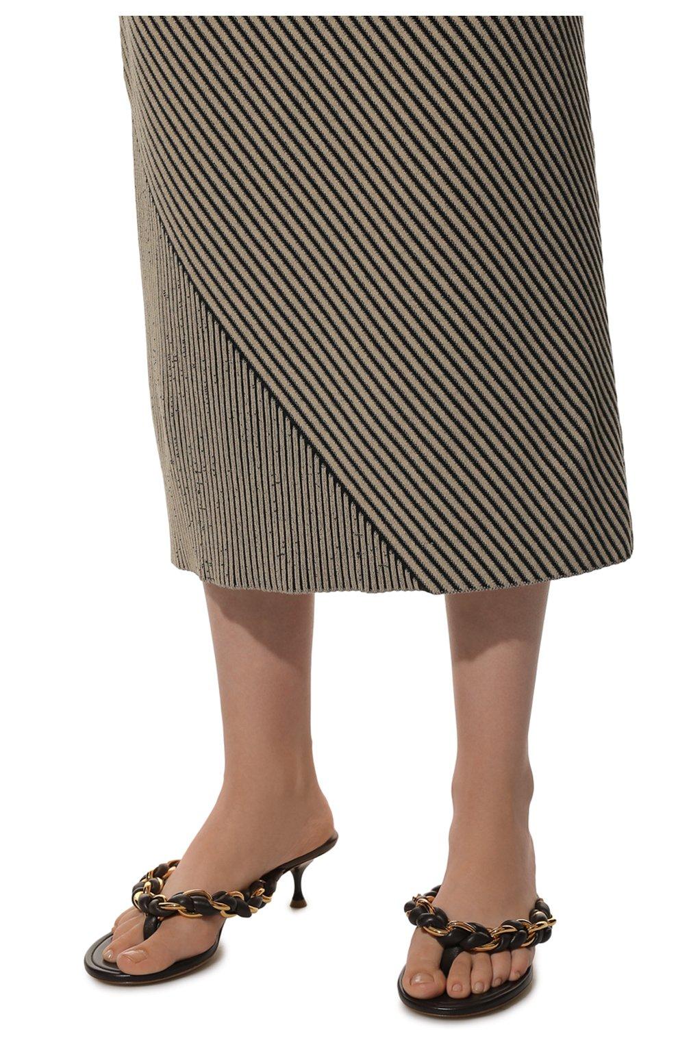 Женские кожаные мюли dot BOTTEGA VENETA темно-коричневого цвета, арт. 659002/V0V50 | Фото 3