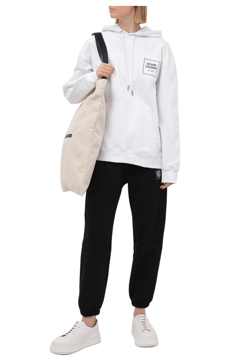 Женский хлопковое худи OPENING CEREMONY белого цвета, арт. YWBB008S21FLE001 | Фото 2 (Рукава: Длинные; Длина (для топов): Стандартные; Материал внешний: Хлопок; Стили: Спорт-шик; Женское Кросс-КТ: Худи-одежда)