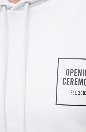 Женский хлопковое худи OPENING CEREMONY белого цвета, арт. YWBB008S21FLE001 | Фото 5 (Рукава: Длинные; Длина (для топов): Стандартные; Материал внешний: Хлопок; Стили: Спорт-шик; Женское Кросс-КТ: Худи-одежда)