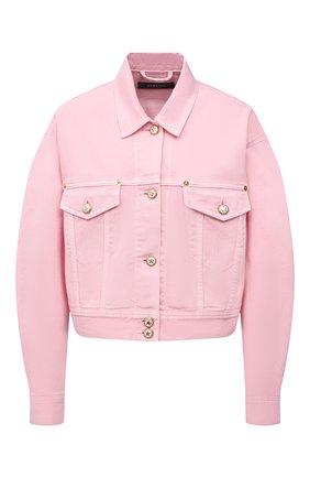 Женская джинсовая куртка VERSACE светло-розового цвета, арт. A88851/A236174 | Фото 1 (Материал внешний: Хлопок; Длина (верхняя одежда): Короткие; Рукава: Длинные; Кросс-КТ: Куртка, Деним; Стили: Романтичный)