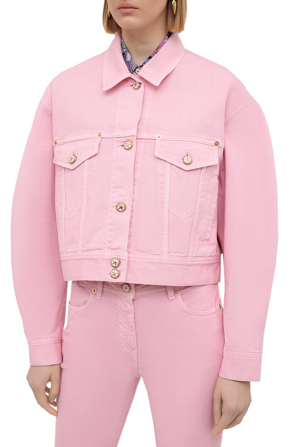 Женская джинсовая куртка VERSACE светло-розового цвета, арт. A88851/A236174 | Фото 3