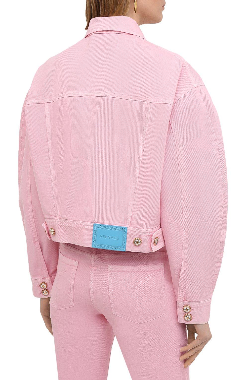Женская джинсовая куртка VERSACE светло-розового цвета, арт. A88851/A236174 | Фото 4