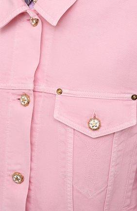 Женская джинсовая куртка VERSACE светло-розового цвета, арт. A88851/A236174 | Фото 5