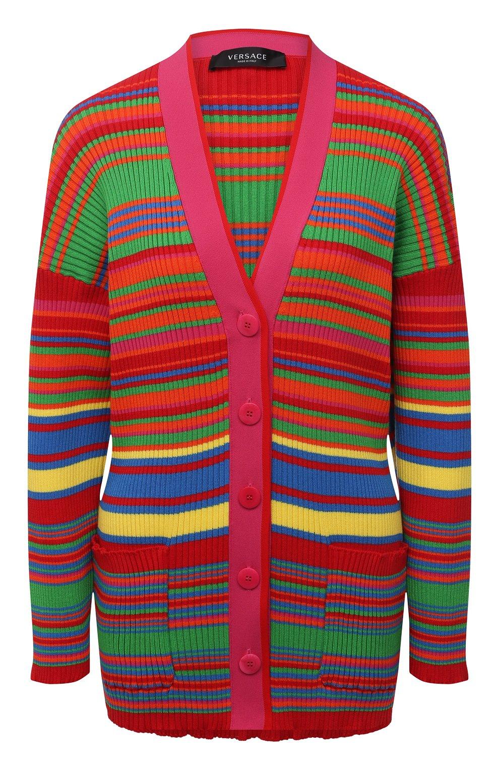Женский хлопковый кардиган VERSACE разноцветного цвета, арт. A89294/A237539 | Фото 1