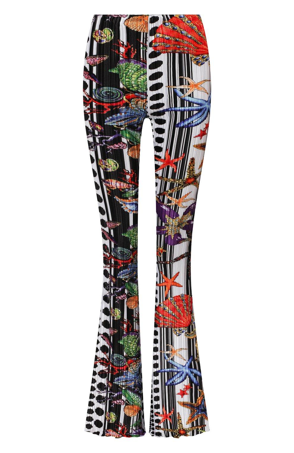 Женские брюки VERSACE разноцветного цвета, арт. A89220/1F01292 | Фото 1 (Длина (брюки, джинсы): Удлиненные; Женское Кросс-КТ: Брюки-одежда; Материал внешний: Синтетический материал; Силуэт Ж (брюки и джинсы): Расклешенные; Стили: Романтичный)