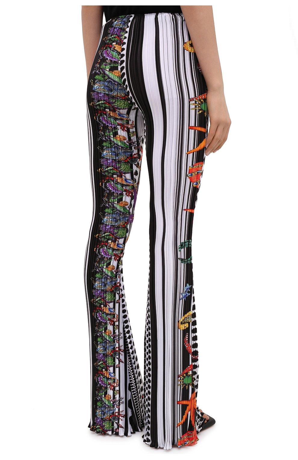 Женские брюки VERSACE разноцветного цвета, арт. A89220/1F01292 | Фото 4 (Длина (брюки, джинсы): Удлиненные; Женское Кросс-КТ: Брюки-одежда; Материал внешний: Синтетический материал; Силуэт Ж (брюки и джинсы): Расклешенные; Стили: Романтичный)