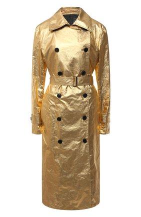 Женский льняной тренч DRIES VAN NOTEN золотого цвета, арт. 211-10243-2327 | Фото 1